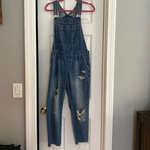 Abercrombie and Fitch distressed overalls